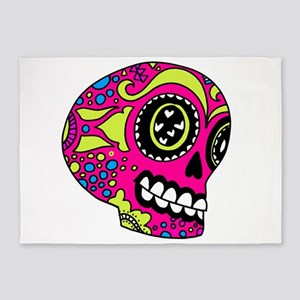 Pink Sugar Skull in Love 5'x7'Area Rug