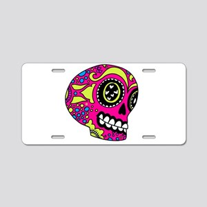 Pink Sugar Skull in Love Aluminum License Plate