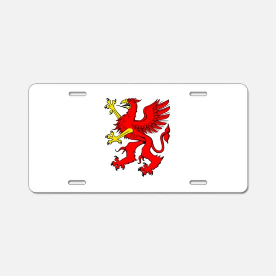 Red griffin Aluminum License Plate
