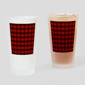 Red Buffalo Plaid Drinking Glass