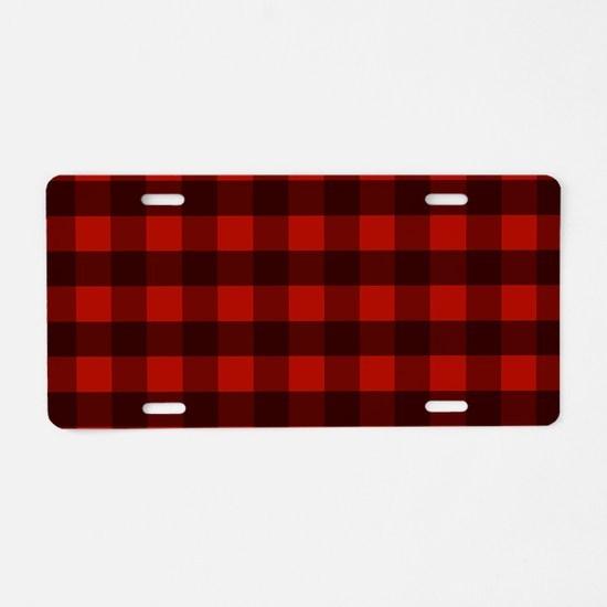 Red Buffalo Plaid Aluminum License Plate