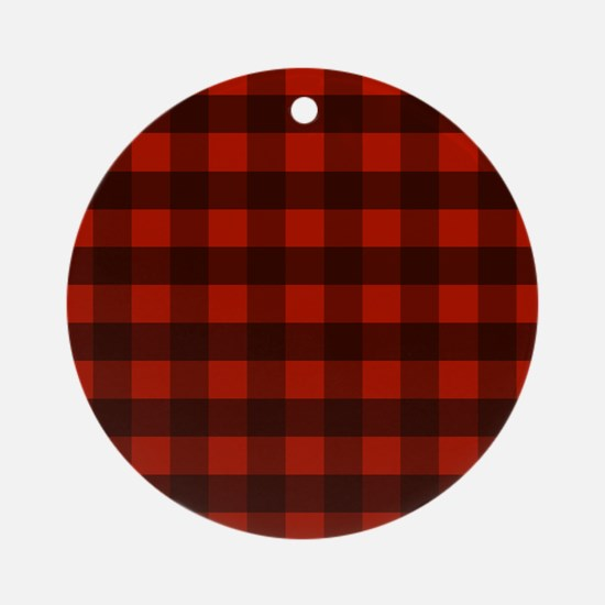 Red Buffalo Plaid Round Ornament