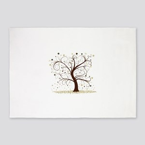 Curly Tree Design 5'x7'Area Rug