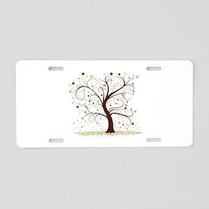 Curly Tree Design Aluminum License Plate