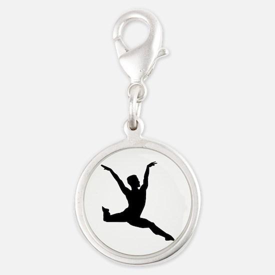 Ballet man Silver Round Charm