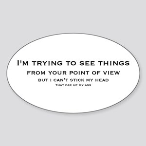 Trying To See Things Oval Sticker