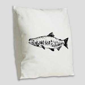 Salmon Burlap Throw Pillow