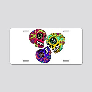 3 Little Sugar Skulls Aluminum License Plate