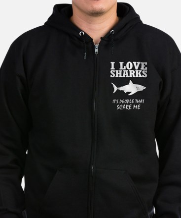 I Love Sharks, It's People That Zip Hoodie (dark)
