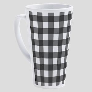 Black White Buffalo Plaid 17 oz Latte Mug