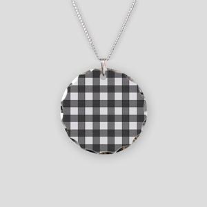 Black White Buffalo Plaid Necklace Circle Charm