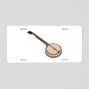 Wooden Banjo Aluminum License Plate