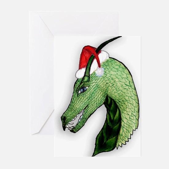 Green Christmas dragon Greeting Cards