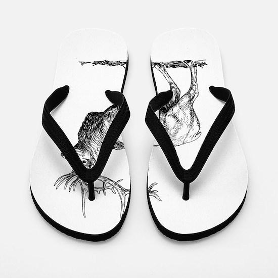 Elk silhouette Flip Flops
