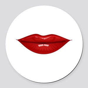 Red lovely lips Round Car Magnet