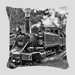 Vintage Black and White Steam Woven Throw Pillow
