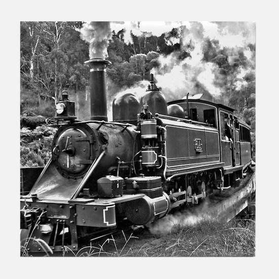 Vintage Black and White Steam Train L Tile Coaster