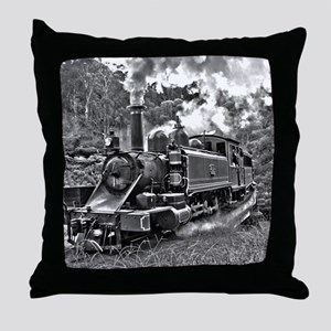 Vintage Black and White Steam Train L Throw Pillow