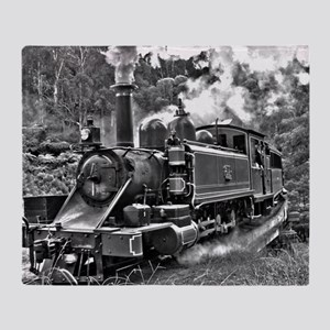 Vintage Black and White Steam Train Throw Blanket