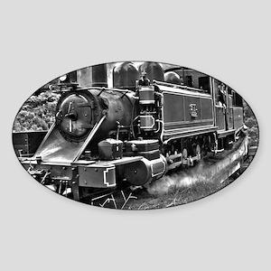 Vintage Black and White Steam Train Sticker (Oval)