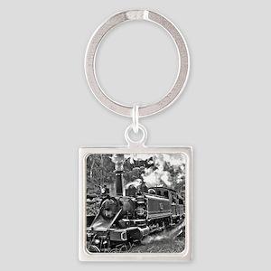 Vintage Black and White Steam Trai Square Keychain