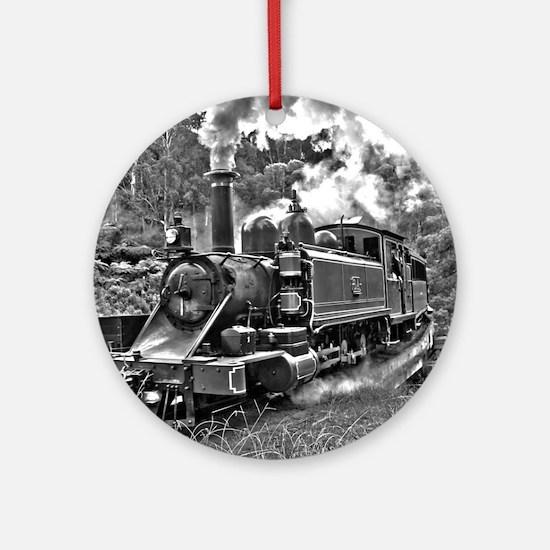 Vintage Black and White Steam Train Round Ornament