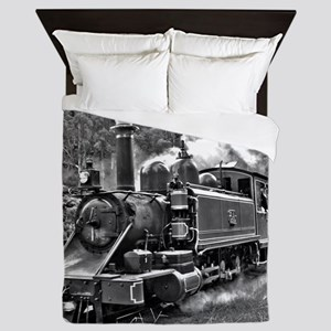 Vintage Black and White Steam Train Lo Queen Duvet