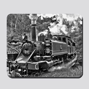 Vintage Black and White Steam Train Loco Mousepad