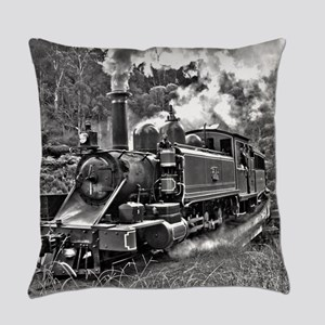 Vintage Black and White Steam Trai Everyday Pillow
