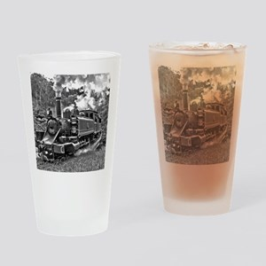 Vintage Black and White Steam Train Drinking Glass
