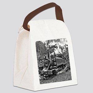 Vintage Black and White Steam Tra Canvas Lunch Bag