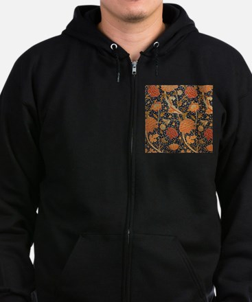 Floral by William Morris Zip Hoodie