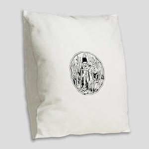 Scarecrow in the corn Burlap Throw Pillow