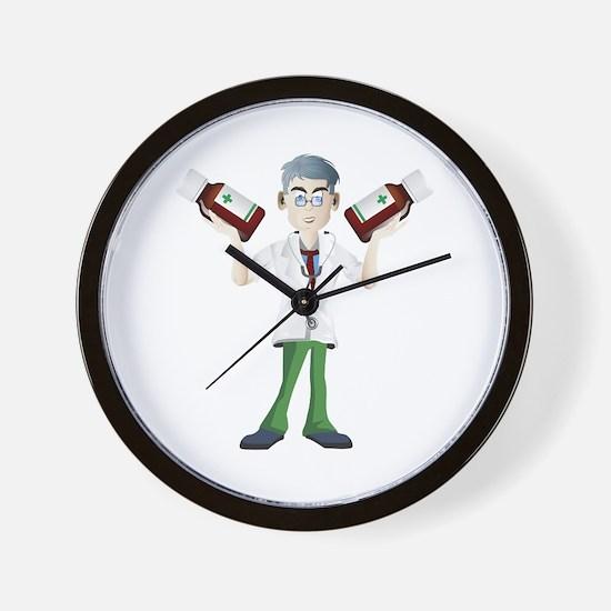 Doctor cartoon with tonic Wall Clock