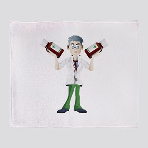 Doctor cartoon with tonic Throw Blanket