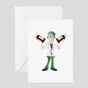 Doctor cartoon with tonic Greeting Cards