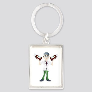 Doctor cartoon with tonic Keychains