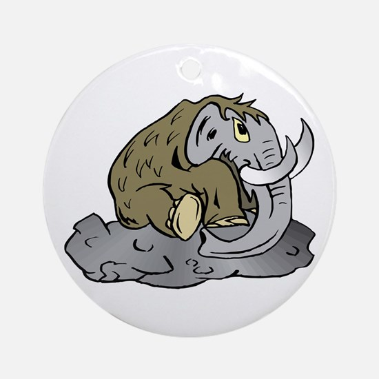 Mammoth in Tar Pit Round Ornament