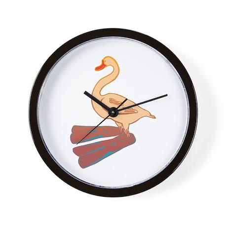 Silly Duck in Swimmy Flippers Wall Clock