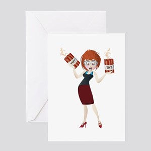 Business lady cartoon with TNT bomb Greeting Cards