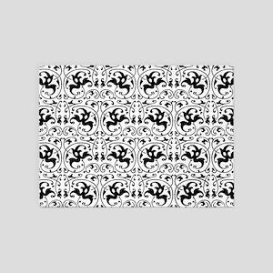 Vintage Black White Swirl 5'x7'Area Rug