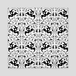 Vintage Black White Swirl Queen Duvet