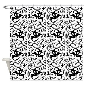 Black And White Swirl Shower Curtains Cafepress
