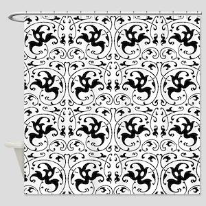 Vintage Black White Swirl Shower Curtain