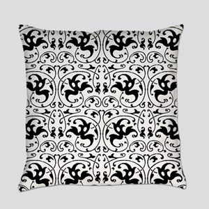 Vintage Black White Swirl Everyday Pillow