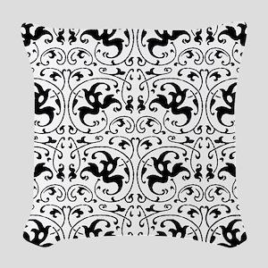 Vintage Black White Swirl Woven Throw Pillow