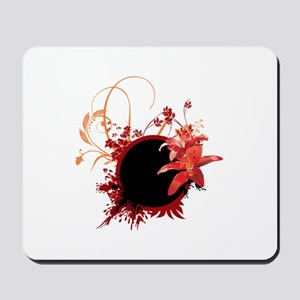 Red floral Border Mousepad