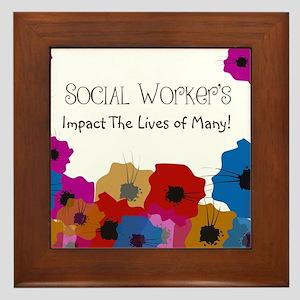 Social Worker Floral Art Framed Tile