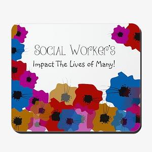 Social Worker Floral Art Mousepad