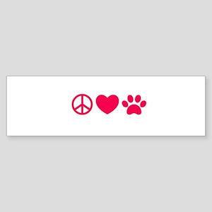 Peace, Love, Pets Bumper Sticker
